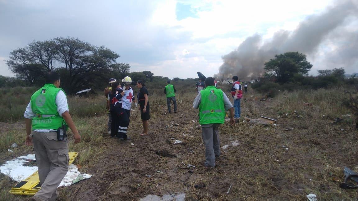 Avión de Aeroméxico sufre accidente en Durango