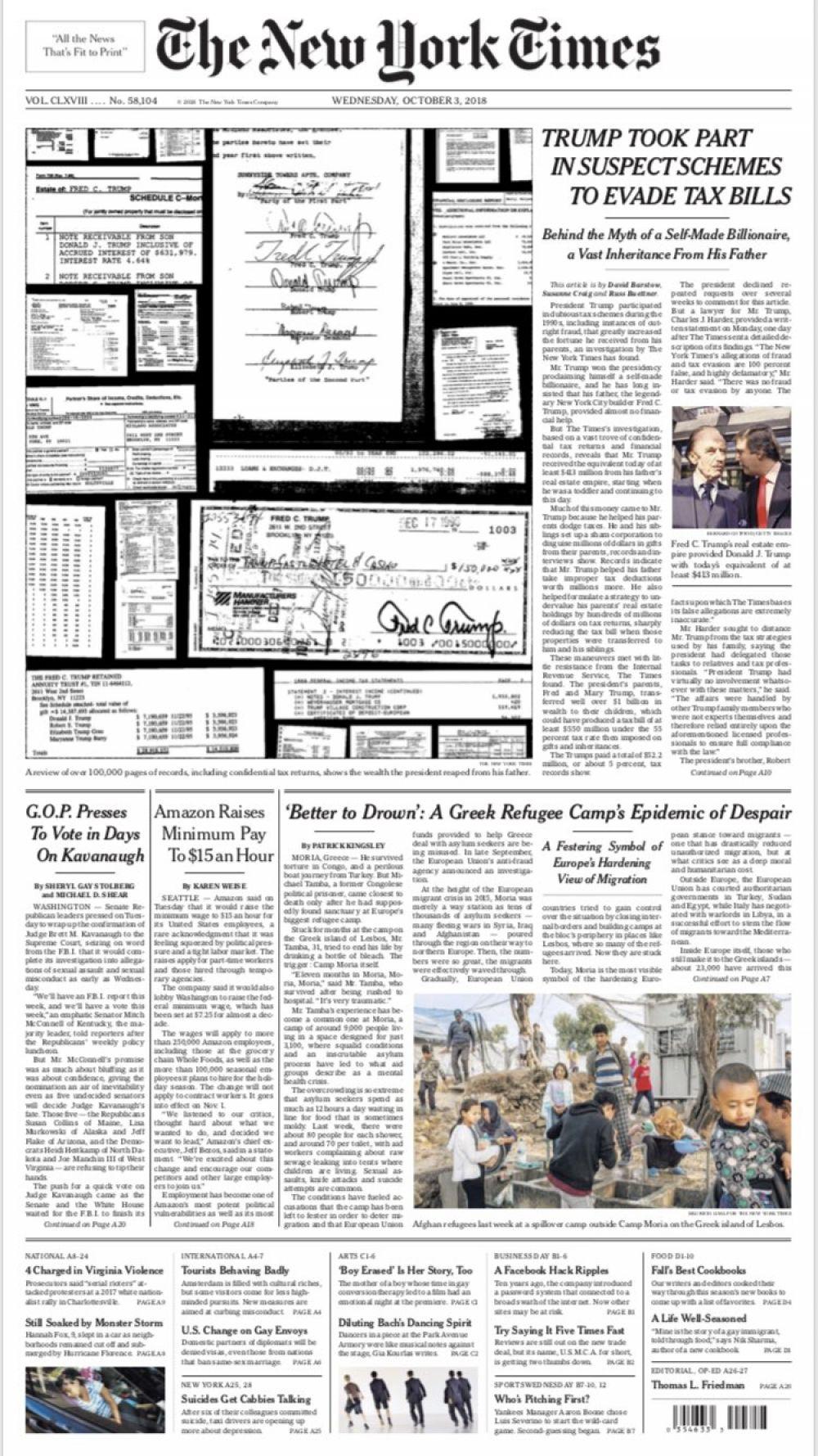 New York Times acusa a Trump de evadir impuestos.